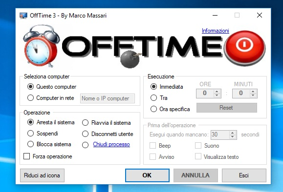 offtime spegnere il pc